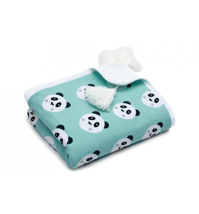 Pulp Eco Jersey Bomulls filt, Mint Pandas - Elliotti.se