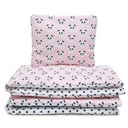 Pulp Bomullstäcke & kudde 100x135cm, Pink Pandas