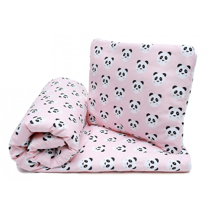 Pulp Bomullstäcke & kudde 100x135cm, Pink Pandas - Elliotti.se