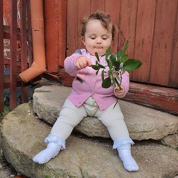 Marius Kids Cardigan i merinoull, Lotus Pink