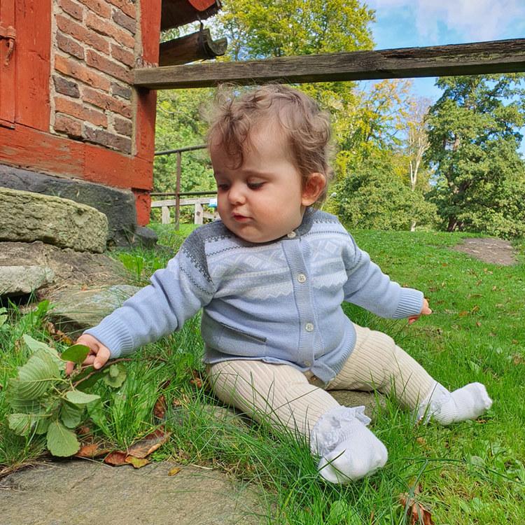 Marius Kids Cardigan i merinoull, Baby Blue - Elliotti.se