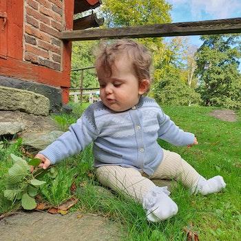 Marius Kids Cardigan i merinoull, Baby Blue
