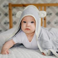 Badpaket - Bambu Badcape silver och babyborste
