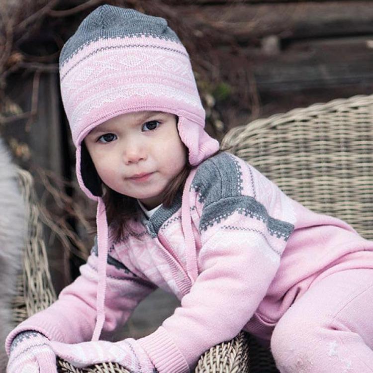 Marius Kids mössa i merinoull, Lotus Pink - Elliotti.se