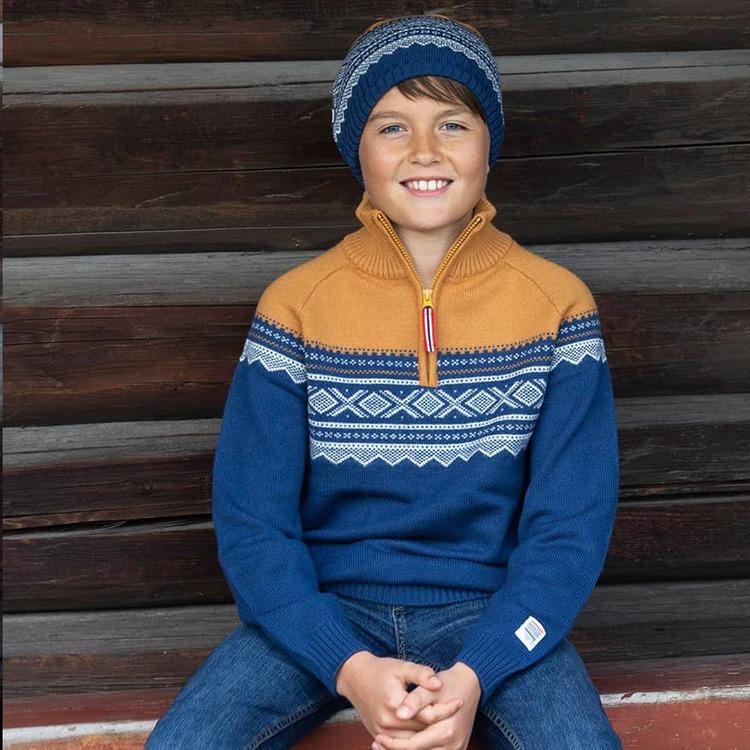 Marius Kids ulltröja med dragkedja, Blå Stellar - Elliotti.se
