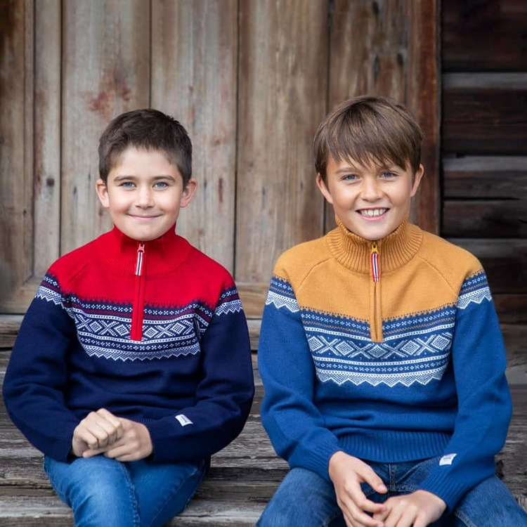 Marius Kids ulltröja med dragkedja, Navy - Elliotti.se