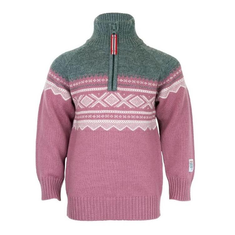 Present Merinoull tröja med zip + mössa, Mesa Rosa - Elliotti.se