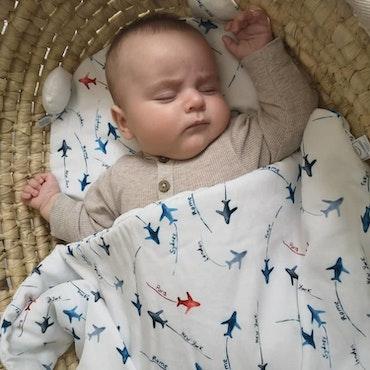 YOSOY Bambutäcke till nyfödd 65x75cm, Aeroplanes