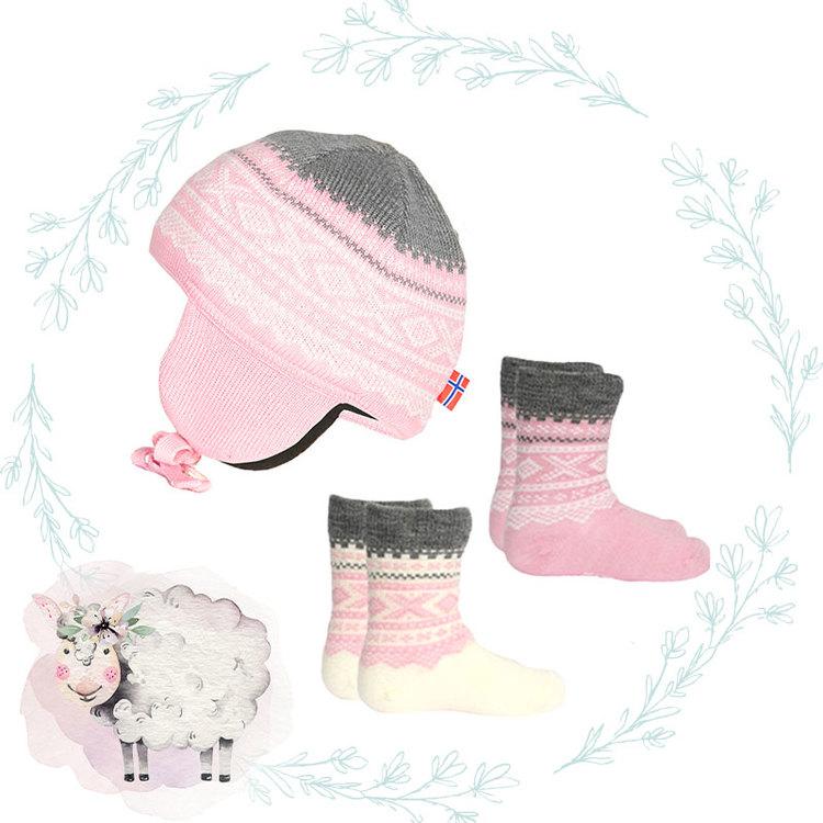 Produktpaket Marius Kids mössa & strumpor, Lotus Pink - Elliotti.se