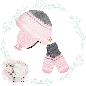 Present Marius Kids mössa och vantar, Lotus Pink