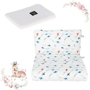 Nyfödd paket Aeroplanes- täcke och kudde + stickat filt i bambu