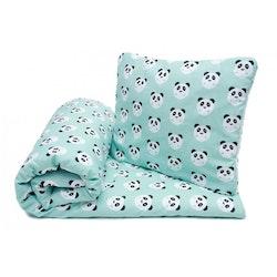 Pulp Eko Bomullstäcke och kudde 80x100cm, Mint Pandas