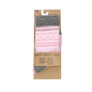 Marius® Kids strumpor i merinoull 2pack, Lotus rosa/Egret