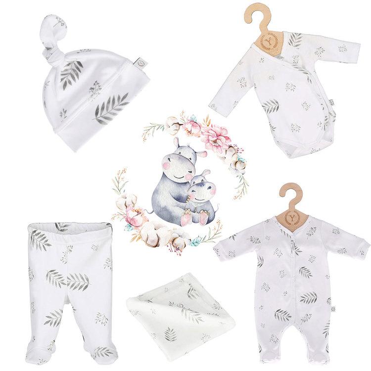 Nyfödd klädpaket Lyx, Grey Leafs: 62