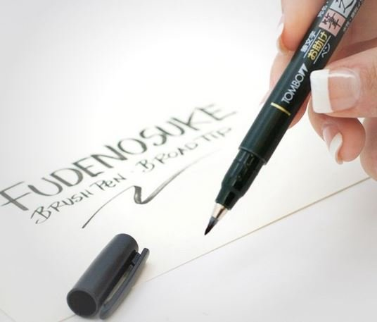 Japansk kalligrafipenna Fudenosuke Tombow mjuk penselspets svart