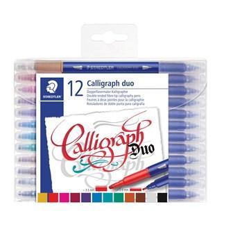 Staedtler Kalligrafipenna Duo 2,0 - 3,5 mm 12 färg / Staedtler Calligraphy Duo Tip Pens Pack of 12