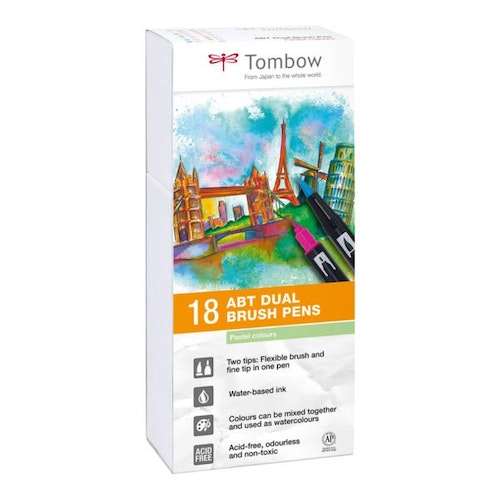 Tombow ABT Dual Brush Pen 18 set, Pastel Colors