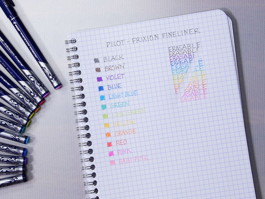 Pilot Frixion Fineliner Evolutive set 12-pack sorterade färger / Pilot Frixion fineliner assorted 12 color