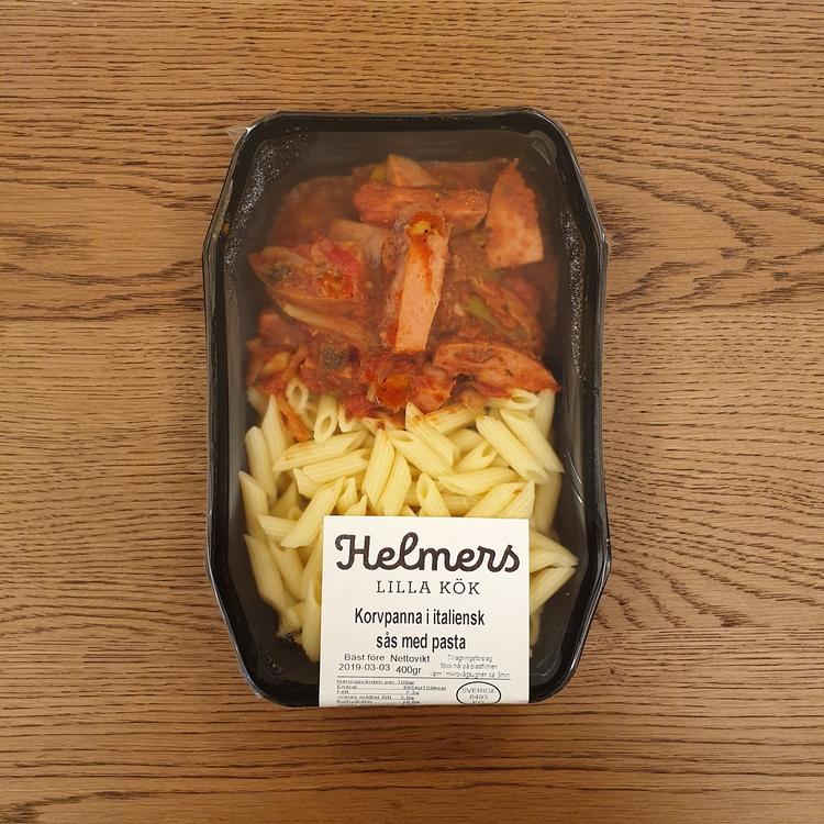 Korvpanna i italiensk sås med pasta 400g