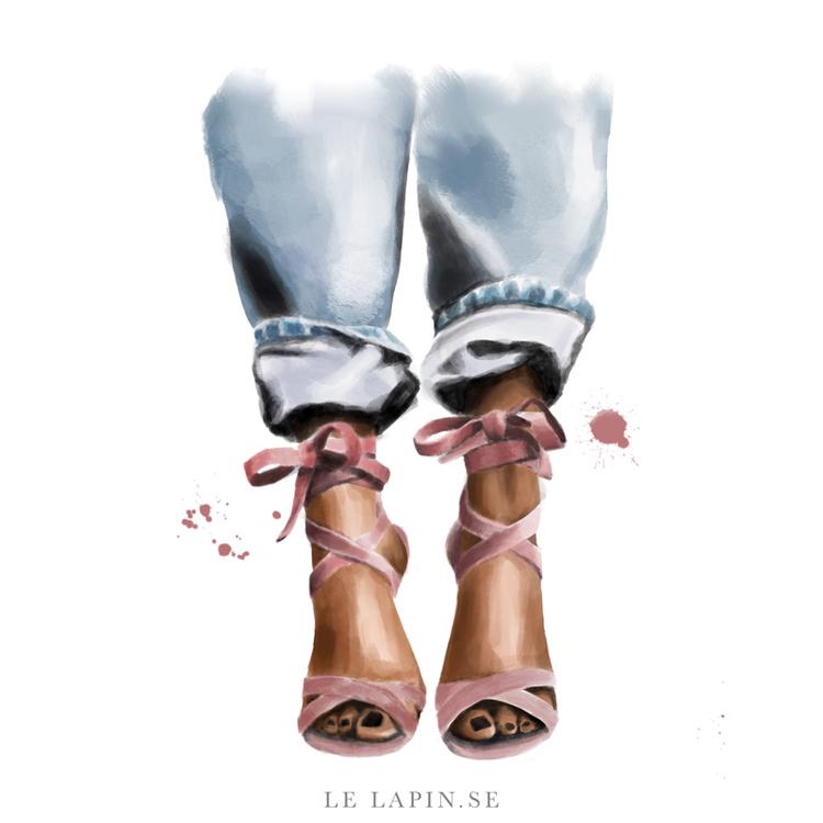 Pink heels - Vykort