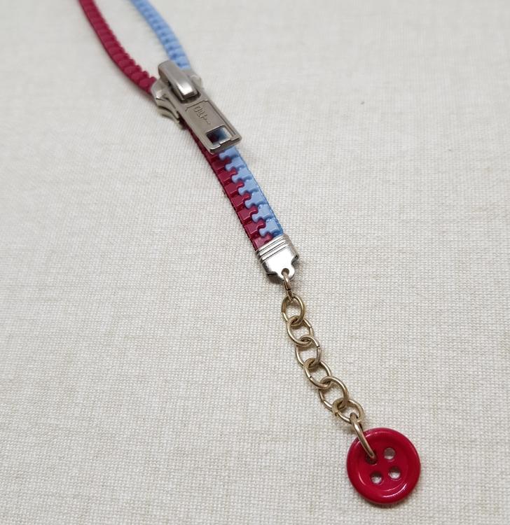 Armband blixtlås  - röd/blå