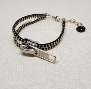 Armband blixtlås  - mörkt blå/silver