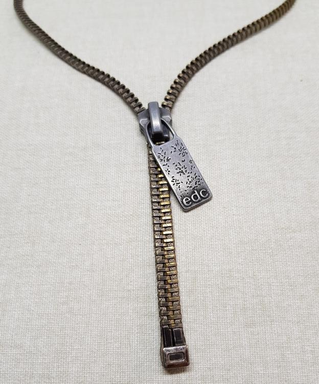 Halsband blixtlås - brons/grå