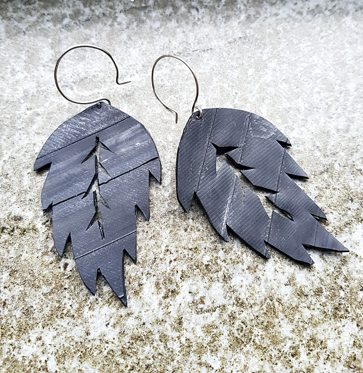 Earrings - cykelslang löv / bike tube leaf