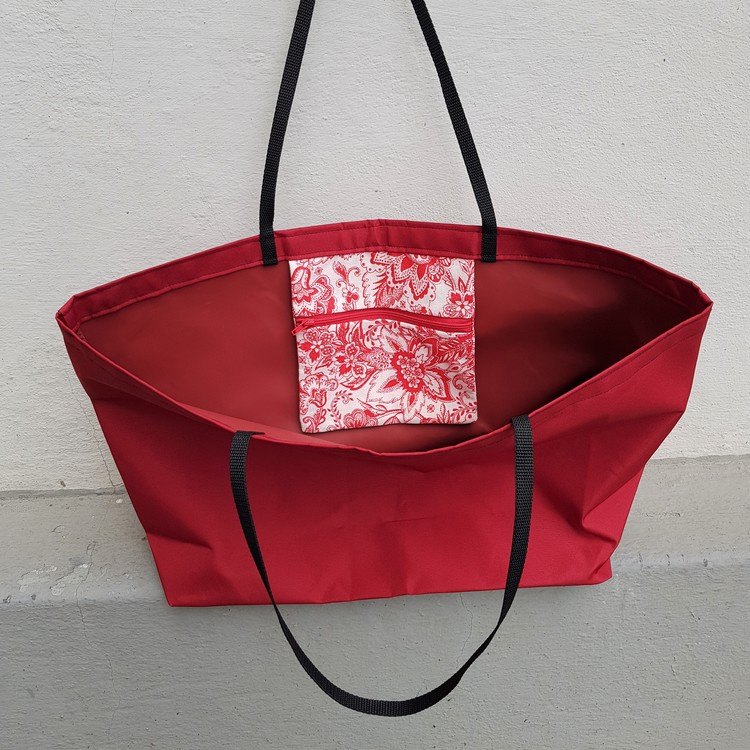 Beach bag / shopping bag - röd med rödvit ficka