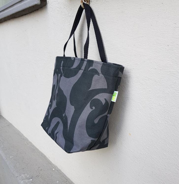 Matlådeväska/ Lunch Bag - Svartgrå mönstrad (Mindre)