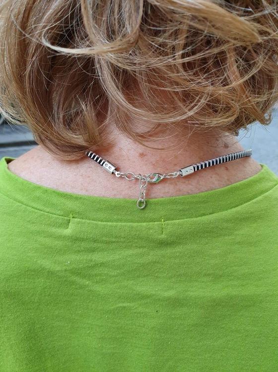 Halsband blixtlås-svart silver