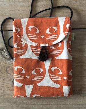 Liten väska av återvunnet tyg - orange  katt karamell