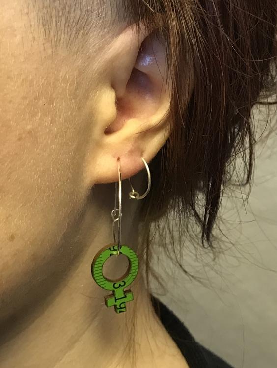 Earrings - Green Feminist Big hoops