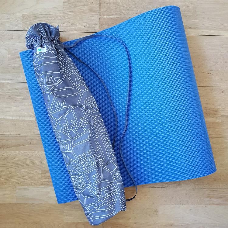 Yogamatta fodral - grå/vit mönstrad