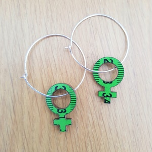 Earrings - Green Feminist Big hoops