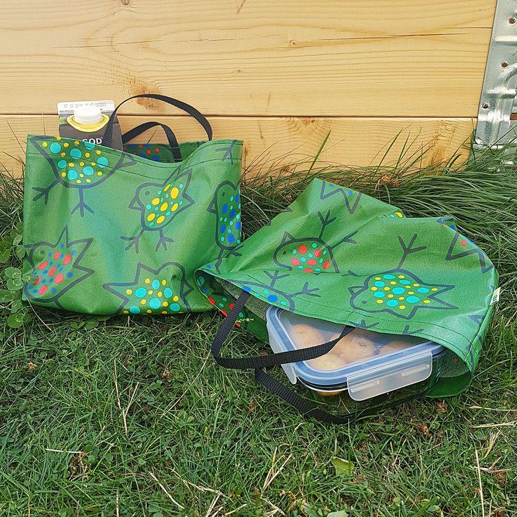 Matlådeväska/ Lunch Bag  - grön med fåglar (större)