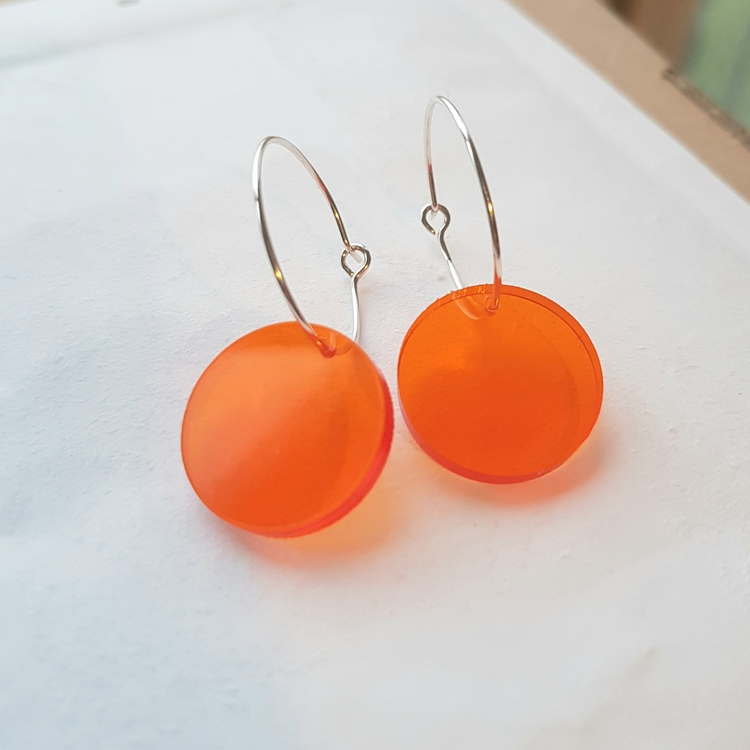 Örhängen Cirkus - transparent orange (mindre)