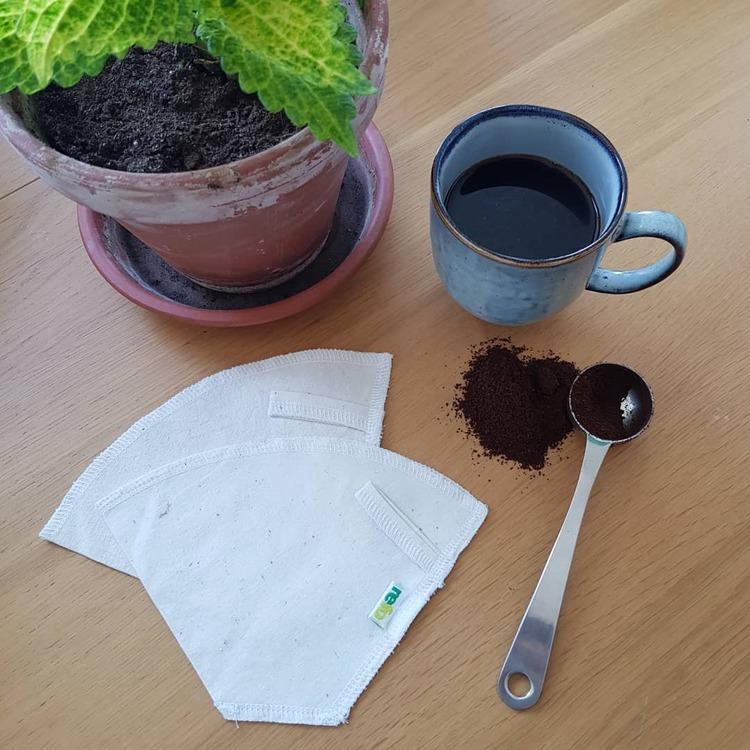 Kaffefilter i återvunnet tyg - vitt/oblekt