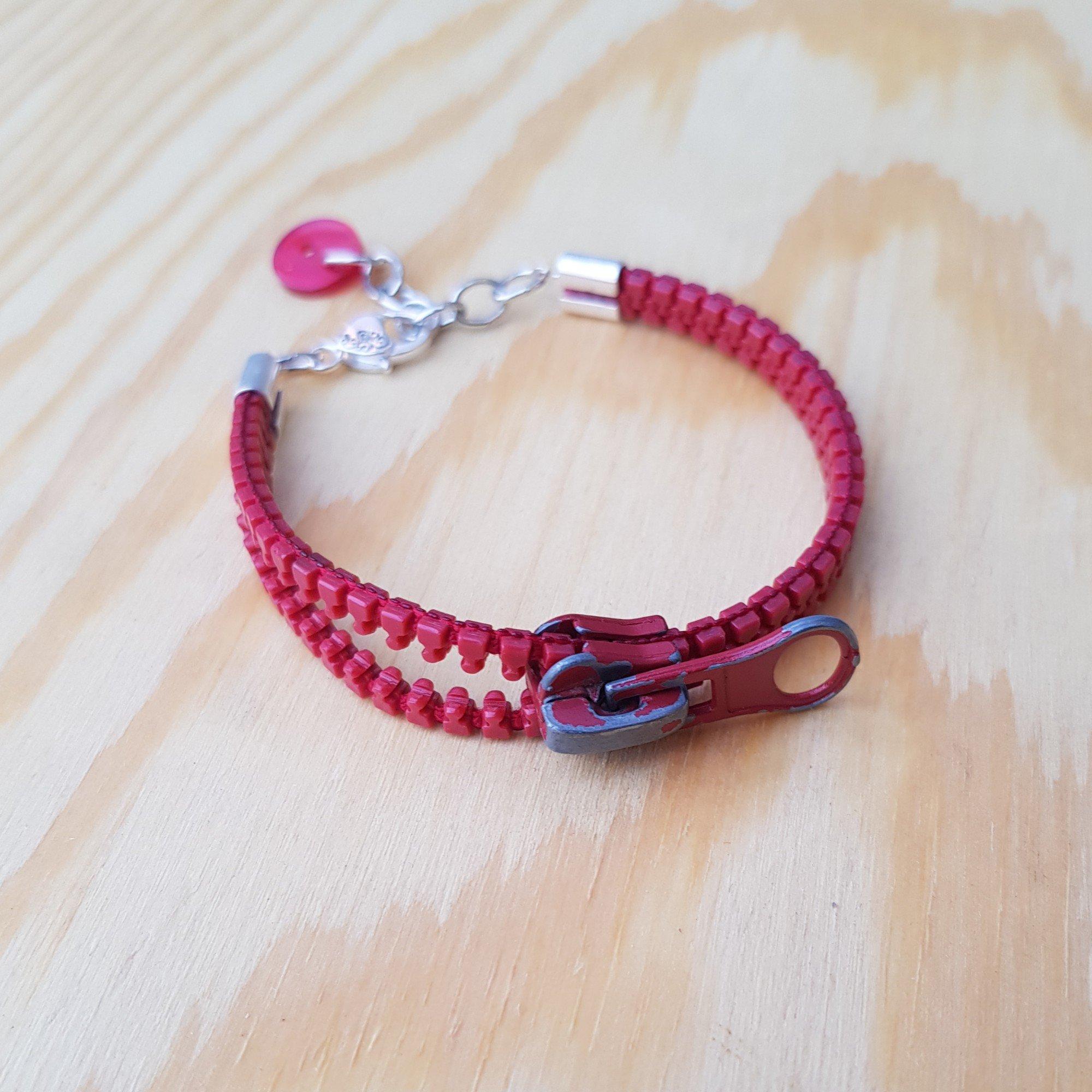 Armband Blixtlås - Röd
