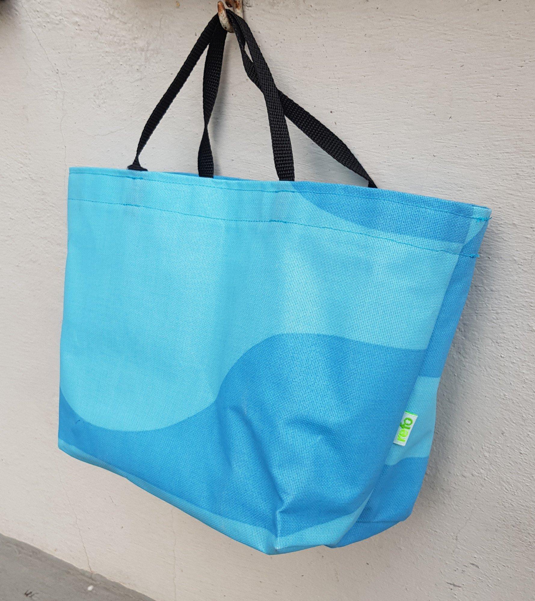 Matlådeväska/ Lunch Bag  - (Större) Blå Mönstrad