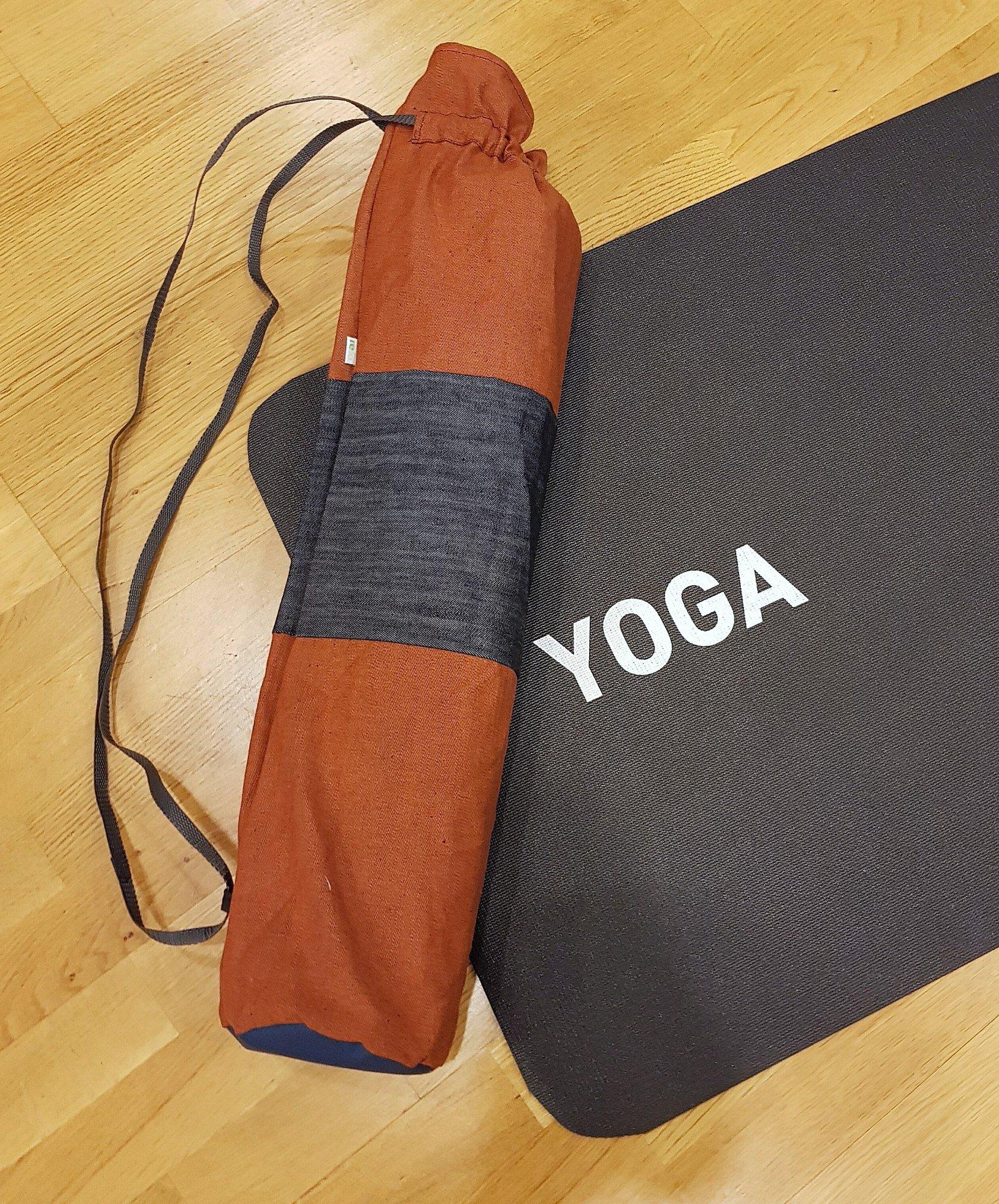Yogamatta Fodral - Jeans Gråblå/rostorange
