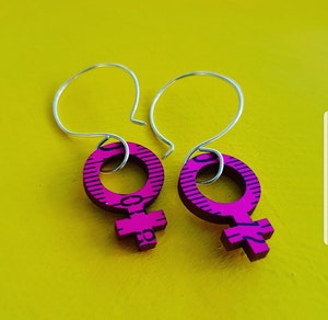 Earrings - Pink Feminist Big