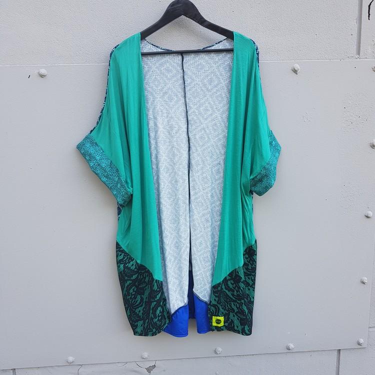 KAFTAN - turkosblå mönstrad