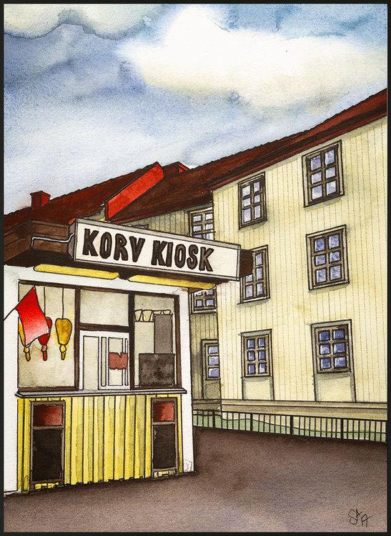 Korv Kiosk Originalfärger miniprint