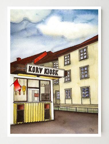 Konstkort Korv kiosk originalfärger