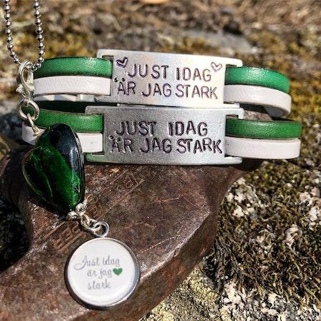 Just idag är jag stark - grönvitt med hjärtan