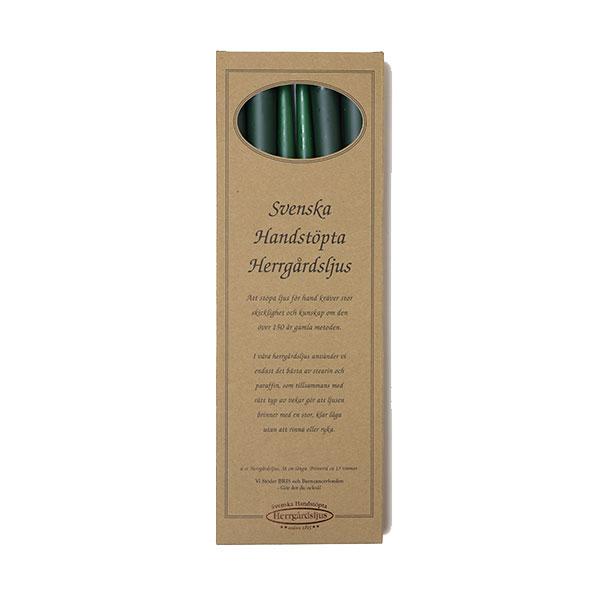 Herrgårdsljus handstöpta mörkgrön 30 cm
