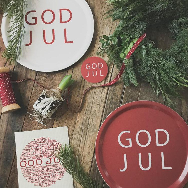 Bricka rund God Jul vit-MELLOW DESIGN