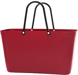 Hinza väska stor vinröd  -green plastic
