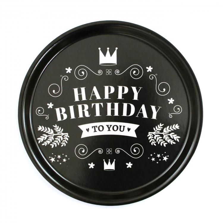 Bricka rund 31 Happy birthday -I LOVE DESIGN